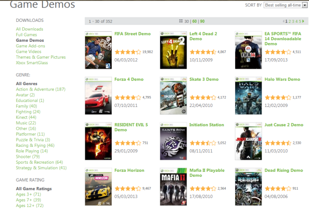 Xbox 360 - Best selling demos so far